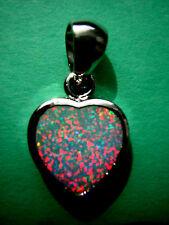 Opal Anhänger Herz funkelnder Feueropal in 925 Sterling Silber Liebe 2 cm