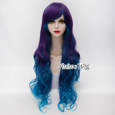 Lolita Blue Mixed Purple 75CM Long Curly Hair Girls Women Cosplay Synthetic Wig