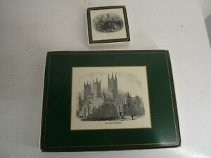 Vintage Pimpernel De Luxe Mats Coasters Traditional Lincoln Scenes Green (B20)