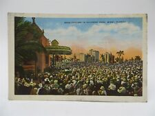 Vintage Early 1900's Postcard - Band Concert in Bayfront Park, Miami, FL