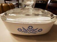 Corning Ware Blue Cornflower P- 1 -B Casserole Dish w/ A7C1 Replacement lid 1 qt