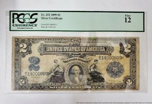 PCGS FR 252 1899 $2 Two Dollar Large Size Silver Certificate Currency Note