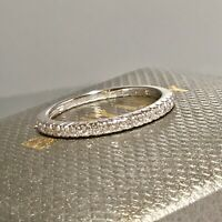 SOLD OUT! BONY LEVY 18 K WHITE GOLD PAVE DIAMOND STACKABLE BAND RING SIZE 7