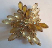 Vintage Frosted Yellow Glowing Rhinestone Floral Juliana Pin Brooch