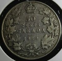 1919 Canada 50 cent half dollar is 92.5% silver the exact coin sent lot #500