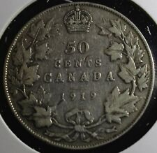 1919 Canadian 50 cent half dollar is 92.5% silver the exact coin sent lot #500