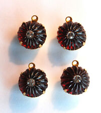 VINTAGE 4 FLUTED RED GLASS & RHINESTONE JELLO MOLD PENDANT BEADS • CRYSTAL, RUBY