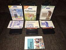 Sega Master System. Sega Chess, Golfamania & PGA Tour Gold.Complete Hanging Tabs