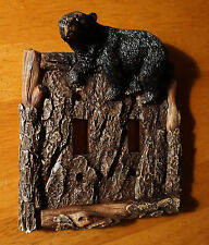 BLACK BEAR PINE BARK DOUBLE SWITCH PLATE COVER SWITCHPLATE CABIN Home Decor NEW