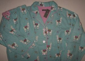 NWT PJ Salvage WARM Aqua Blue/Pink Paisley FANCY LLAMAS Flannel Pajama Set L