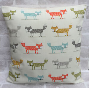 """Shabby Chic Contemporary Foxes Fox Cushion Cover 16"""" or 18"""" inch"""