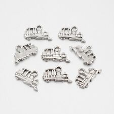 50 Pieces Antique Silver Train Charms, 15 x 12mm