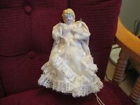 """Vintage Angel Tree Topper Lighted Porcelain Head & Hands/Ivory Lace Gown 8 3/4"""""""