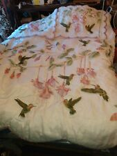 Hummingbird Fushia White Rose Purple Green Pem America Comforter & Two Shams