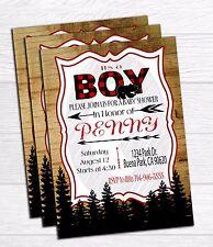 Digital lumberjack baby shower invitation, Party invite
