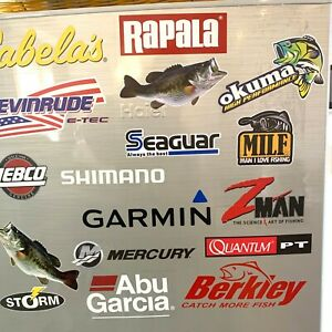 Fishing Decals wholesale  lot of (17) stickers,best selling stickers
