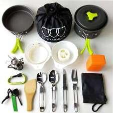 17 PCs Outdoor Camping Cookware Mess Kit Set, Cooking Picnic Hiking Bowl Pot Pan
