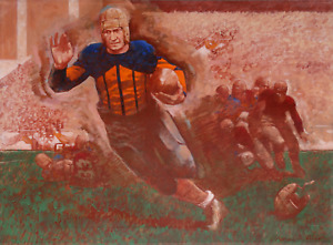 Thomas B. Allen, Early Football Running Back, Oil on Canvas, signed l.r.
