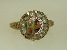 ANTIQUE 1890'S CLARK & COOMBS G.F. ENAMEL W/BRILLIANTS DAUGHTERS OF REBECCA RING