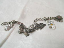 Vintage silver tone Bracelet with Sterling Charms