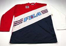 Vintage Fila Hockey Jersey XL Logo Spellout Red White Blue Long Sleeve