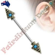 316L Surgical Steel Industrial Barbell with Turquoise Set Tribal Spear Ends