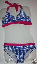 Sanrio Hello Kitty Pink Blue Yellow 2 Pc Piece Halter Bikini Swimsuit Medium 7-8