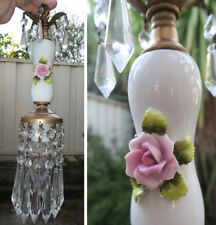 Vintage Capodimonte Pink ROSE porcelain Brass swag lamp chandelier French light