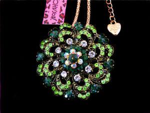 Betsey Johnson Green Crystal Rhinestone Flower Pendant Sweater Chain Necklace