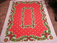 Vintage Tastemaker Tablecloth Christmas Holly Garlands Ribbon Balls Snowflakes
