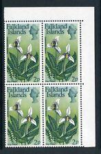 Falkland Islands 1972 QEII Fiori 2p Blocco 4 Sg 279 Nuovo senza Linguella