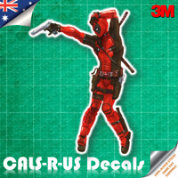 JDM Dancing Mad Deadpool Thriller with Gun Pose Car Vinyl Decal Sticker 3M 100mm
