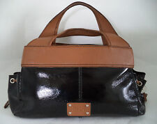 RI2K BLACK PATENT AND BROWN LEATHER BAG HANDBAG DOUBLE STRAP