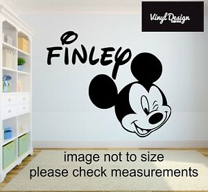 Mickey Mouse Personalised Wall Art Sticker / Vinyl for childrens bedroom wall