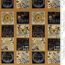 """MODA Quilt Panel ~ BEE INSPIRED ~ Deb Strain (66790 11) Honey Yellow 24"""" x 45"""""""