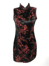 Periwing Mandarin Collar Dress Size Small Black Red Floral Kimono Costume