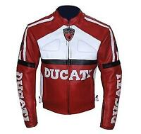 New Ducati Men's Motorcycle/Motorbike Leather Jacket Full Protection in All Size