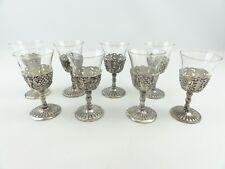 "Wine Tasters Mini Glasses Vintage Set of 8 Glass & Brushed Metal Silver 3 3/4"""