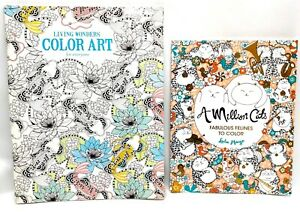 """2 Pack Coloring Books """"A Million Cats"""" & """"Living Wonders Color Art for Everyone"""""""