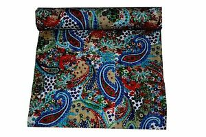 Indian Kantha Quilt Paisley Print Bedspread Bedding Reversible Cotton Handmade
