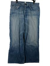 7 For all Mankind Men's Size 32 Denim Jeans Relaxed Distressed Light Blue