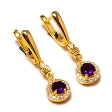925 Sterling Silver Yellow Gold Plated Amethyst Gemstone CZ Drop Dangle Earrings