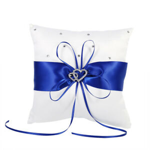 Wedding Bearer Holder Pillow Cushion With Bowknot Stain Double Hearts Di BH