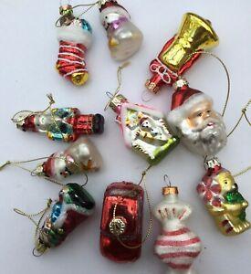 Mini Christmas Character Hanging Glass Tree Decorations Set of 11 - Random Mixed