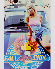 HEATHER THOMAS IN THE FALL GUY POSING ON TRUCK HOOD LOGO 8X10 COLOR PHOTO