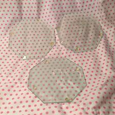 Set Vintage 3 Glass Etched Octagonal Coasters
