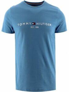 Tommy Hilfiger Men's Logo T-Shirt Cotton Blue Short Sleeve Casual Crew Neck Top