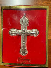 New In Box GORHAM CHANTILLY Silverplate Cross Christian Christmas Ornament Gift