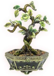Bonsai Tree, Jeweled Trinket Box with Austrian Crystals