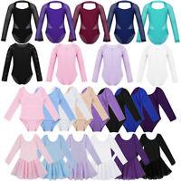 Kid Girl Ballet Dance Dress Long Sleeve Leotard Top Gymnastics Costume Dancewear